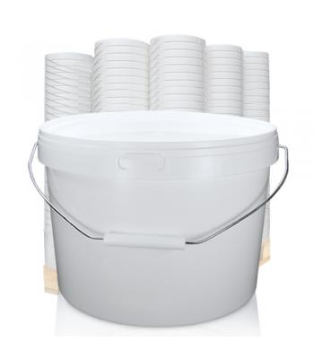 10.3L GL Squat White Bucket with Metal Handle & White Lid