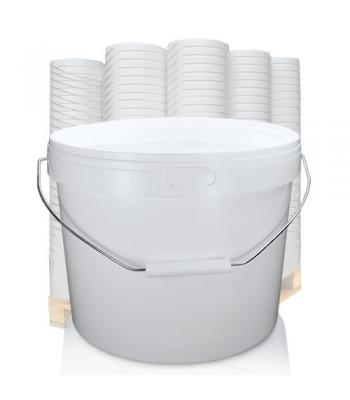 10.4L GL White Bucket with Metal Handle & White Lid (D)