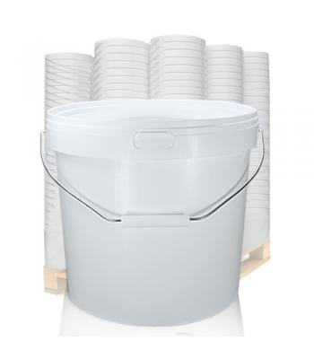 12L GL White Bucket with Metal Handle & White Lid