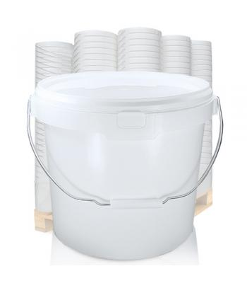 16L GL White Bucket with Metal Handle & White Lid