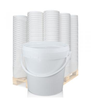 1L White Bucket with Plastic Handle & White Lid EZ100