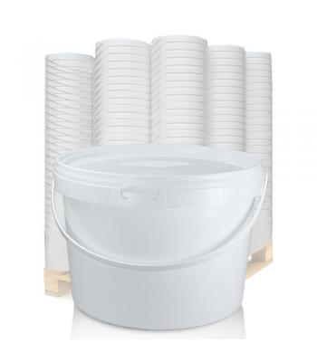 2.5L GL White Bucket with Plastic Handle & White Lid