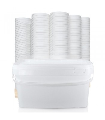 5L GL RH White Rectangular Bucket, Plastic Handle & White Lid