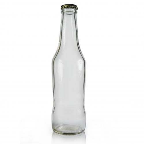 275ml Clear Glass Curvy Beer Bottle & Gold Crown