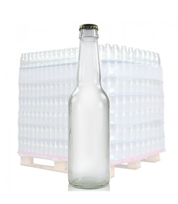 330ml (1063) Clear Glass Beer Bottle & Gold Crown