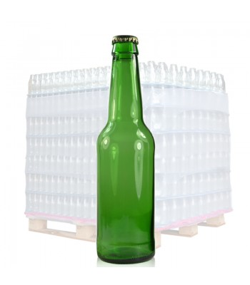 330ml (1063) Green Glass Beer Bottle & Gold Crown