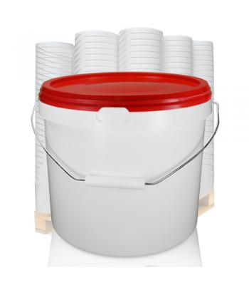 10.4L GL White Bucket with Metal Handle & Red (IHS) Lid (D)