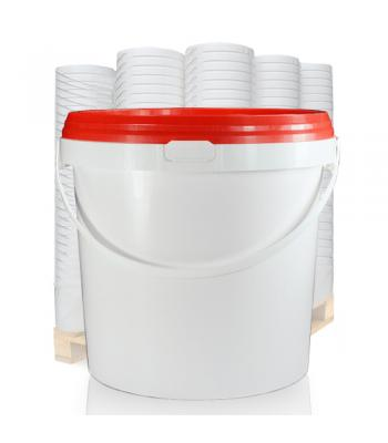 10.4L GL White Bucket with Plastic Handle & Red (IHS) Lid