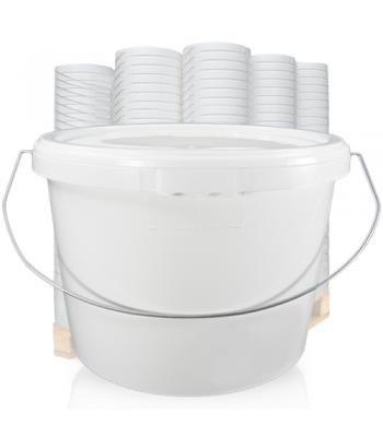 18L White Bucket with Metal Handle & Lid EZ1800