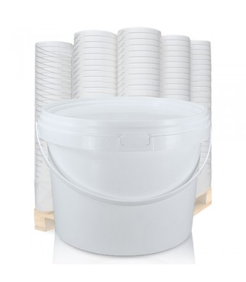 5L GL White Bucket with Plastic Handle & White Lid (D)