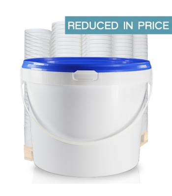 7.5L White Plastic Bucket (D) with Handle and 10.2 Blue Lid