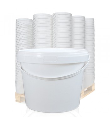 2.5L White Round Bucket with Handle & Lid PF2500