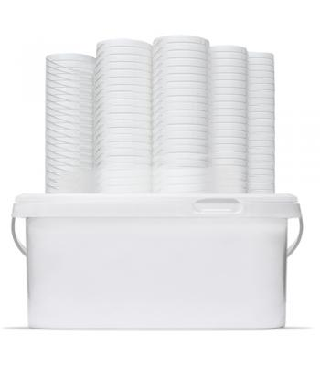 3.6L GL RH White Rectangular Bucket with Handle and Lid (D)