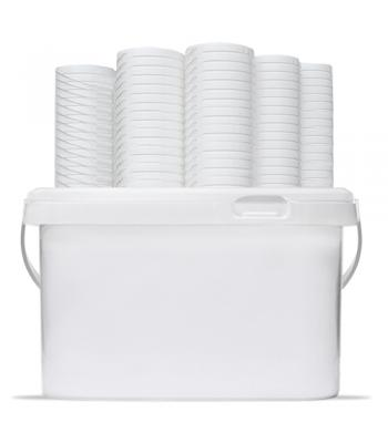 2.5L VKP White Square Bucket with Handle & Lid (D)