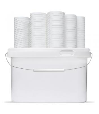 8L GL RH White Square Bucket with Handle & Lid (D)