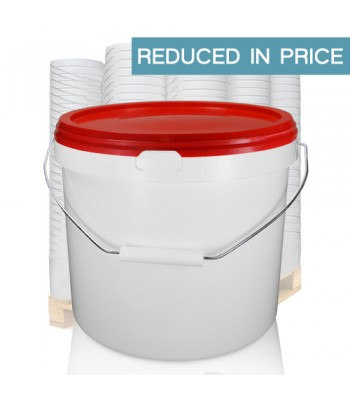 10.4L GL White Bucket with Metal Handle & Red (IHS) Lid