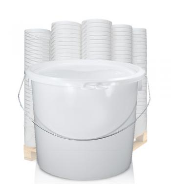 12.5L UN White Bucket with Metal Handle & White Lid EZ1250