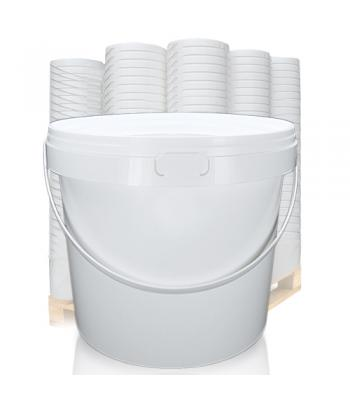 12L GL White Bucket with Plastic Handle & White Lid (D)