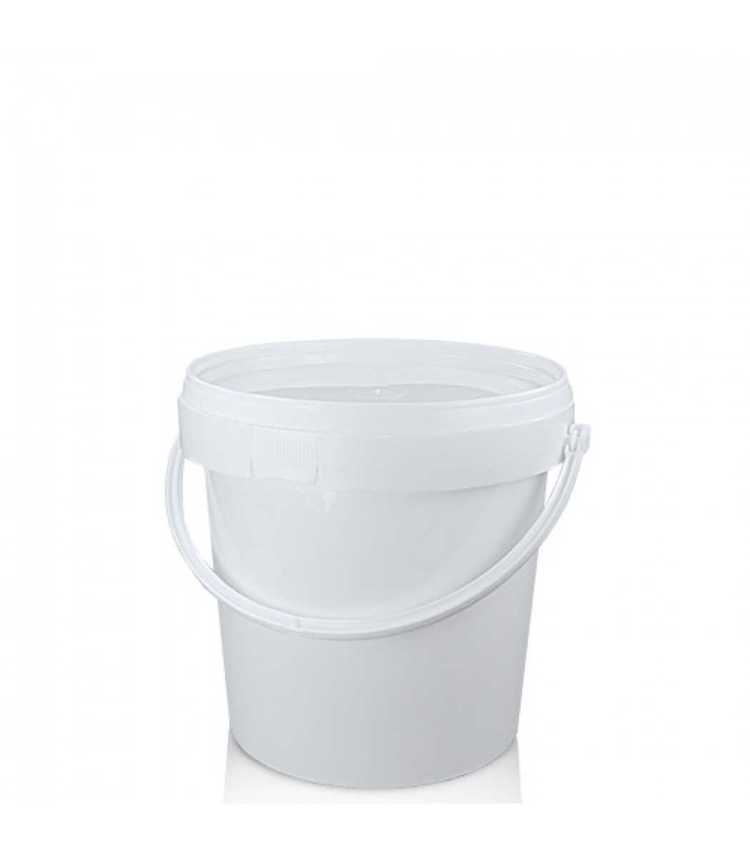 1 Litre White Ppc Bucket With Plastic Handle And Lid