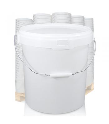 20.5L GL White Bucket with Metal Handle & White Lid