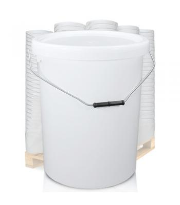 25L White Bucket with Metal Handle & White Lid EZ2500