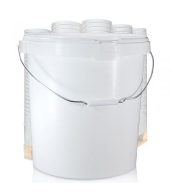30L GL White Bucket with Metal Handle & White Lid