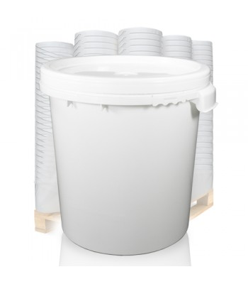 30L White Bucket & White Lid