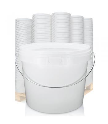 5L GL White Bucket with Metal Handle & White Lid