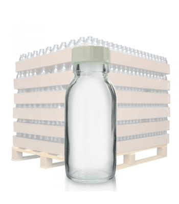 60ml Clear Glass Sirop Bottle & 28mm White (R3) Screw Cap