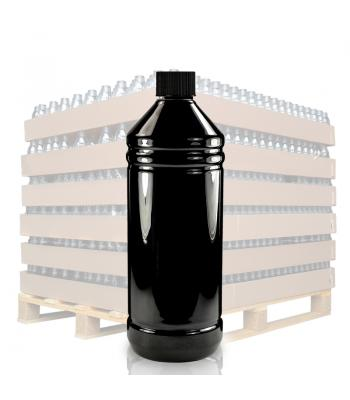 1L Black Glossy PET Plastic Bottle & 28mm Black Screw Cap