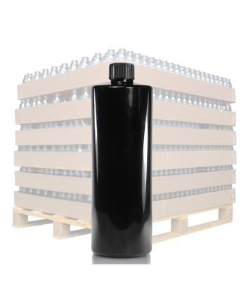 500ml Black Glossy Tubular PET Bottle & 24mm Black Ribbed Cap