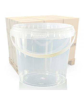 1000ml Clear Round Plastic T/E Pot, Handle and Lid (SP)