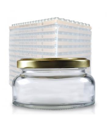 212ml Clear Glass Lucy Jar & 82mm Gold Lid