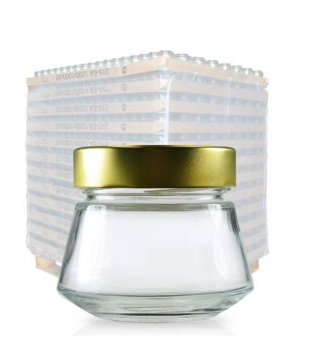 212ml Clear Glass Sake Jar & 70mm Gold Lid