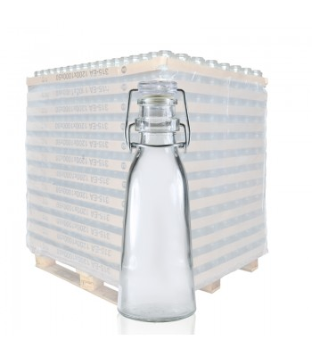 250ml Clear Glass Milk Bottle with Swing Top Lid
