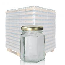 110ml Hexagonal Clear Glass Jar & 48mm Twist-Off Lid