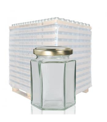 190ml Hexagonal Clear Glass Jar & 58mm Twist Off Lid
