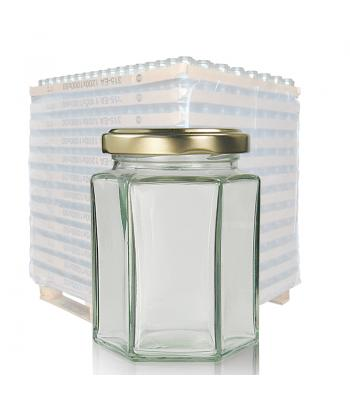 280ml Hexagonal Clear Glass Jar & 63mm Twist Off Lid