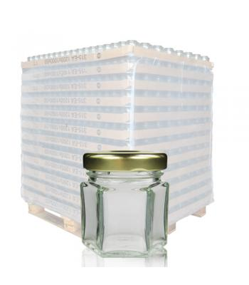 45ml Hexagonal Clear Glass Jar & 43mm Twist-Off Lid