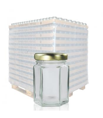 55ml Hexagonal Clear Glass Jar & 43mm Twist-Off Lid