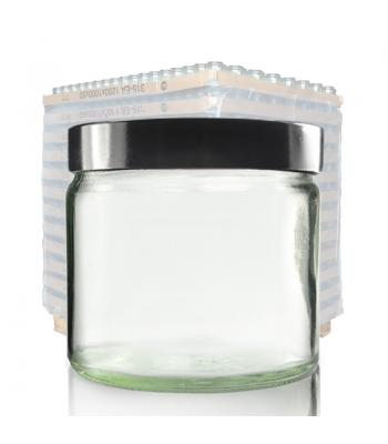 250ml Clear Glass Ointment Jar & 83mm Black Urea Cap