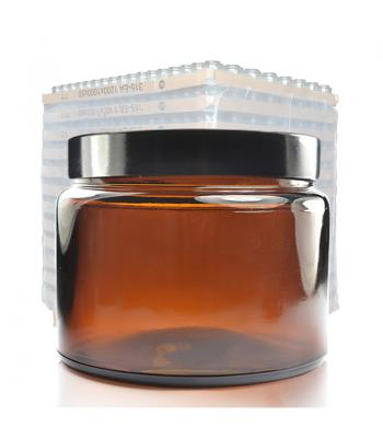 500ml Amber Glass Ointment Jar & 100mm (R3) Black Urea Cap