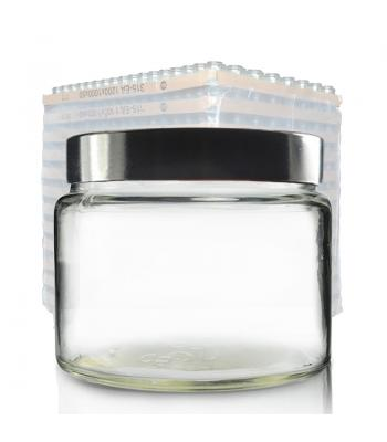500ml Clear Glass Ointment Jar & 100mm (R3) Black Urea Cap