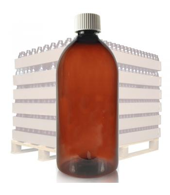 1L Amber PET Sirop Bottle & 28mm White Cap