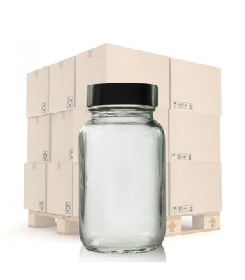 100ml Clear Glass Pharmapac Jar & 38mm Black Urea Cap