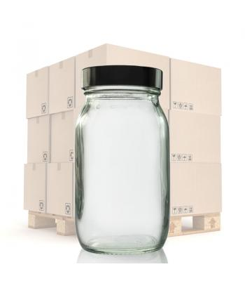 175ml Clear Glass Pharmapac Jar & 48mm Black Urea Cap