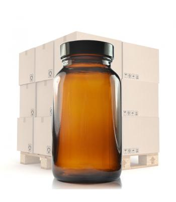 250ml Amber Glass Pharmapac Jar & 48mm Black Urea Cap