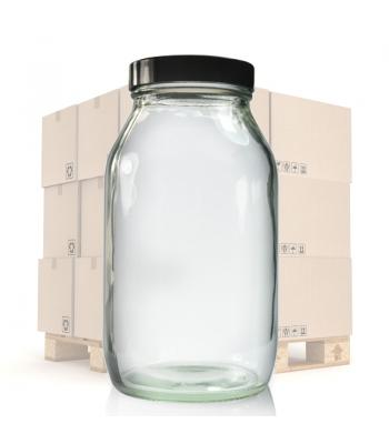 500ml Clear Glass Pharmapac Jar & 58mm Black Urea Cap