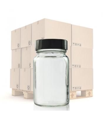 60ml Clear Glass Pharmapac Jar & 38mm Black Urea Cap