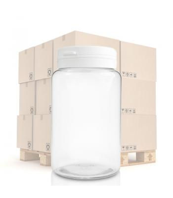 250ml PET Clear Pill Jar & 40mm T/E Snap-Hinge Cap